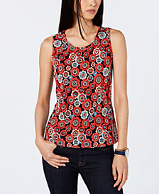 Tommy Hilfiger Flower-Embroidered Shell, Created for Macy's