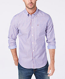 Tommy Hilfiger Men's Classic Fit Titus Stripe Poplin Pocket Shirt , Created for Macy's