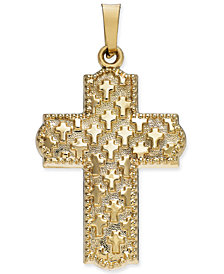 Patterned Cross Pendant in 14k Gold