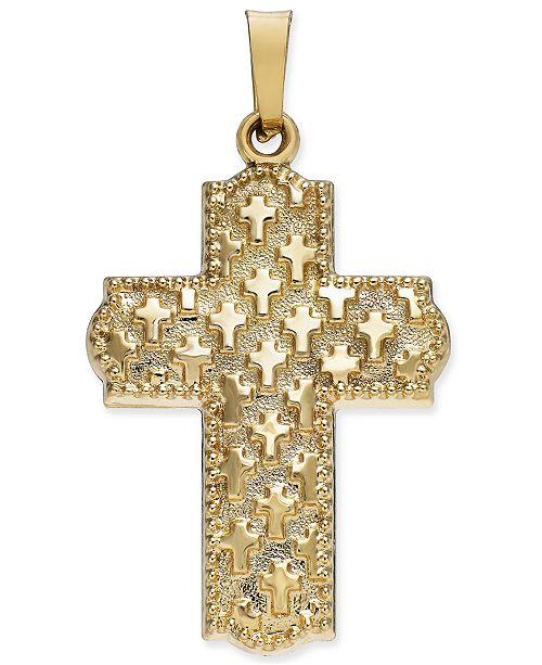 Macy's Patterned Cross Pendant in 14k Gold