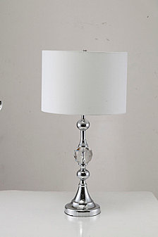 "29.5"" Leona Crystal And Chrome Table Lamp With Outlet"