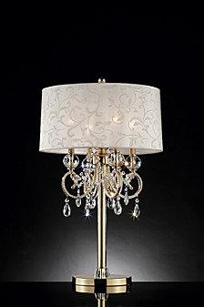 "32.5"" Aurora Barocco Shade Crystal Gold Table Lamp"