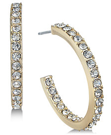 Alfani Gold-Tone Pavé Open Hoop Earrings, Created for Macy's
