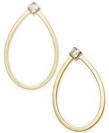 "Alfani Extra Large Gold-Tone Crystal Oval Hoop Earrings, 2.4"", Created for Macy's"