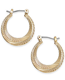 Charter Club Gold-Tone Textured Hoop Earrings, Created for Macy's