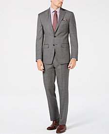 Tallia Men's Slim-Fit Stretch Gray Sharkskin Wool Suit