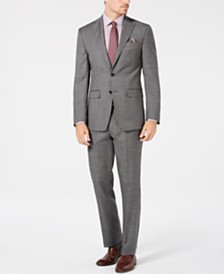 Tallia Men's Big & Tall Slim-Fit Stretch Gray Sharkskin Wool Suit