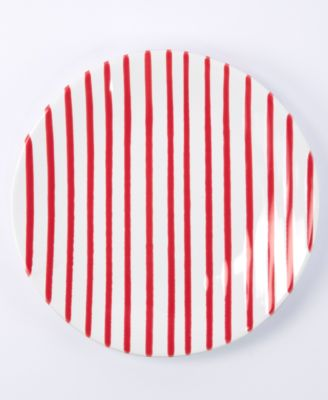 Net & Stripe Red Stripe Salad Plate