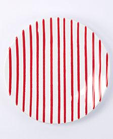 Vietri Net & Stripe Red Stripe Salad Plate