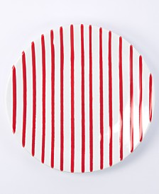 Vietri Net & Stripe Red Stripe Salad Plate