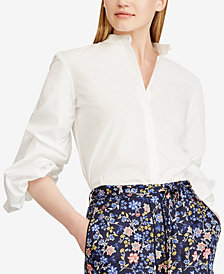 Lauren Ralph Lauren Puffed-Sleeve Cotton Shirt