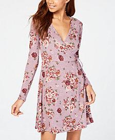 No Comment Juniors' Floral-Print Faux-Wrap Dress
