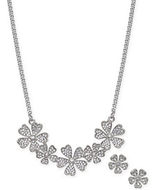 "Charter Club Silver-Tone Crystal Flower Collar Necklace & Stud Earrings Set, 17"" + 2"" extender, Created for Macy's"