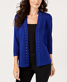 JM Collection Petite Studded Cardigan, Created for Macy's