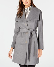 Anne Klein Wing-Collar Belted Wrap Coat