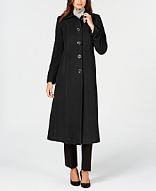 Anne Klein Petite Single-Breasted Maxi Wool Coat