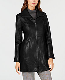 Anne Klein Petite Point-Collar Leather Jacket
