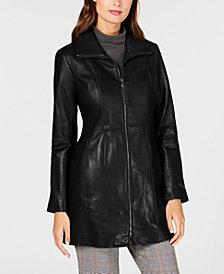 Anne Klein Petite Point-Collar Leather Jacket