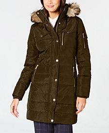 MICHAEL Michael Kors Faux-Fur-Trim Puffer Coat