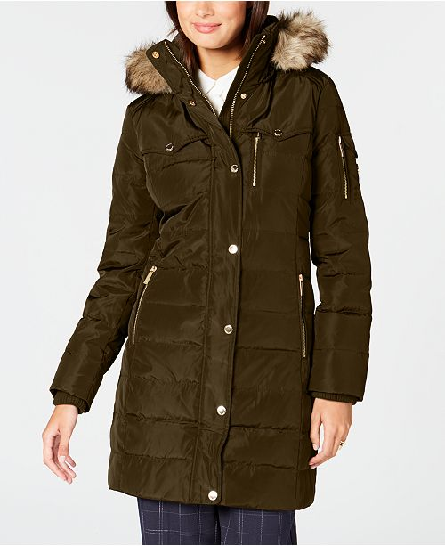 7ae2b722a5f18 Michael Kors Faux-Fur-Trim Puffer Coat   Reviews - Coats - Women ...
