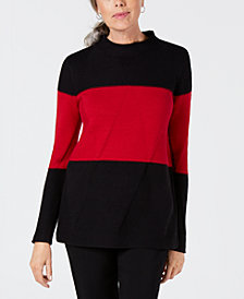 Karen Scott Colorblocked Mockneck Sweater