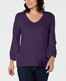 Karen Scott V-Neck Puff-Sleeve Sweater, Created for Macy's