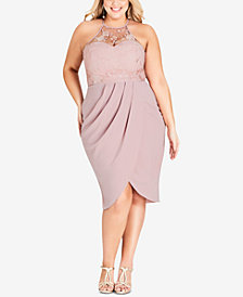 City Chic Trendy Plus Size Embellished Faux-Wrap Dress