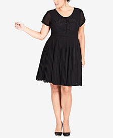 City Chic Trendy Plus Size Embroidered Fit & Flare Dress