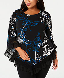 Alfani Plus Size Asymmetrical Ruffle-Trim Tunic, Created for Macy's