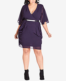 City Chic Trendy Plus Size Draped Belted Dress