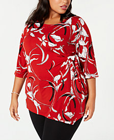 Alfani Plus Size Printed Side-Tie Top, Created for Macy's