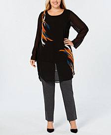Alfani Plus Size Printed Tunic Blouse, Created for Macy's