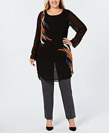 Alfani Plus Size Printed Tunic Blouse, Created for Macy's