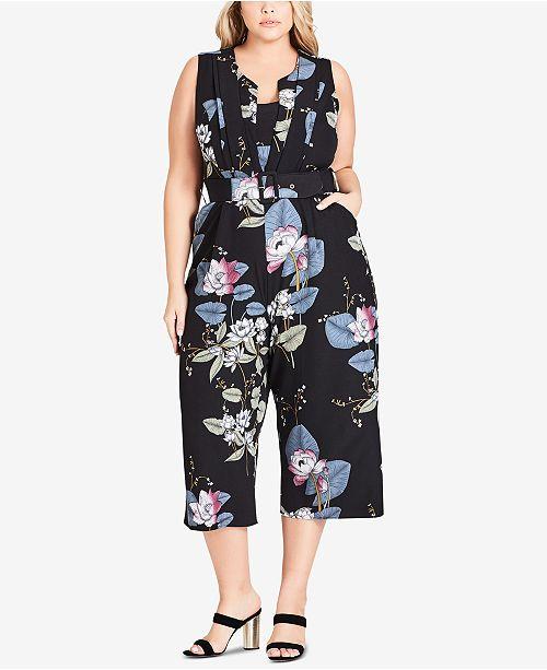 City Chic Trendy Plus Size Cropped Wide-Leg Jumpsuit