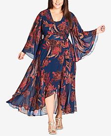 City Chic Trendy Plus Size Floral-Print Faux-Wrap Maxi Dress
