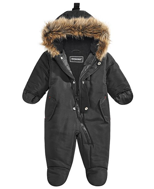 cd5a8f2f2 S. Rothschild Baby Boys or Girls Hooded Footed Pram With Faux-Fur ...
