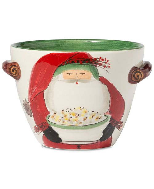 VIETRI Old St  Nick Handled Deep Serving Bowl with Popcorn