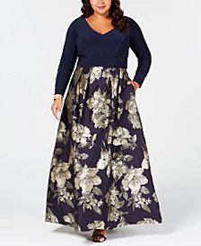 XSCAPE Plus Size Printed Mesh-Inset Gown