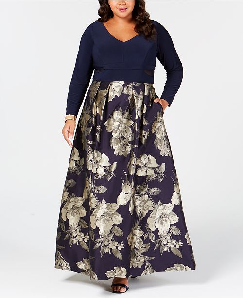XSCAPE Plus Size Printed Mesh-Inset Gown & Reviews ...