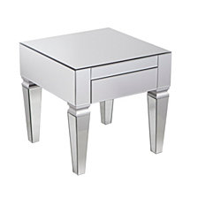 Darien Contemporary Mirrored Square End Table, Quick Ship