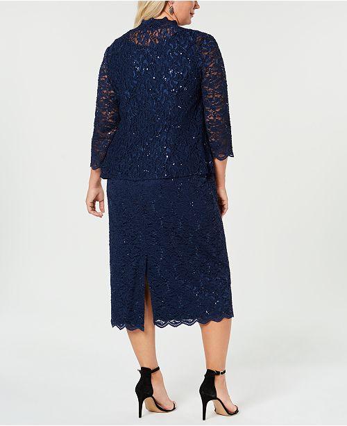 Size amp; Jacket Dress Sequin Evenings Lace Alex Navy Plus PHp1qwEU