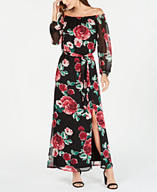 Nine West Floral Off-The-Shoulder Maxi Dress