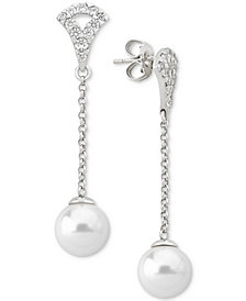 Majorica Sterling Silver Pavé & Imitation Pearl Linear Drop Earrings