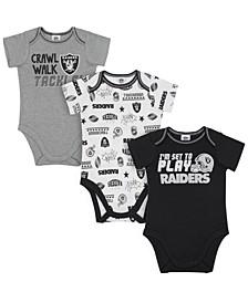 Oakland Raiders 3 Pack Creeper Set, Infants (0-9 Months)