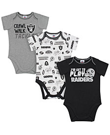 Gerber Childrenswear Oakland Raiders 3 Pack Creeper Set, Infants (0-9 Months)
