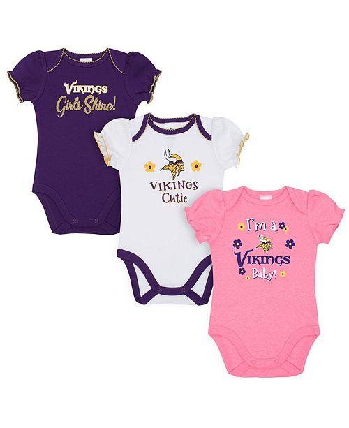 7e76d44a Minnesota Vikings 3 Pack Creeper Set, Infants (0-9 Months)