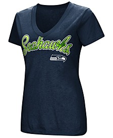 Women's Seattle Seahawks Tailspin Script Foil T-Shirt