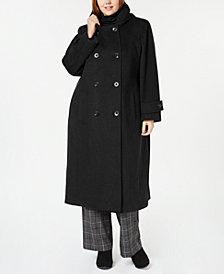 Anne Klein Plus Size Hooded Maxi Coat