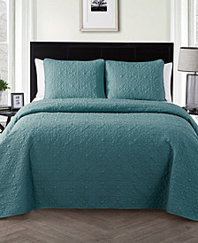 VCNY Home Caroline Embossed Floral 3-Pc. King Quilt Set