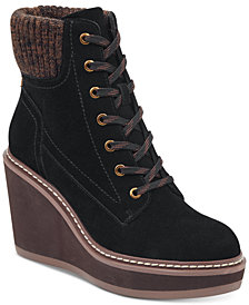 Tommy Hilfiger Solenne Lace-Up Platform Wedge Booties